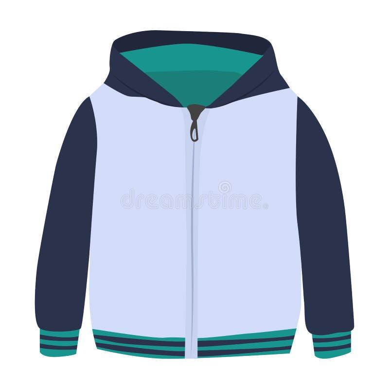Icona di vettore della maglietta felpata su un fondo bianco Illustrazione del maglione dello zip isolata su bianco Stile realisti royalty illustrazione gratis