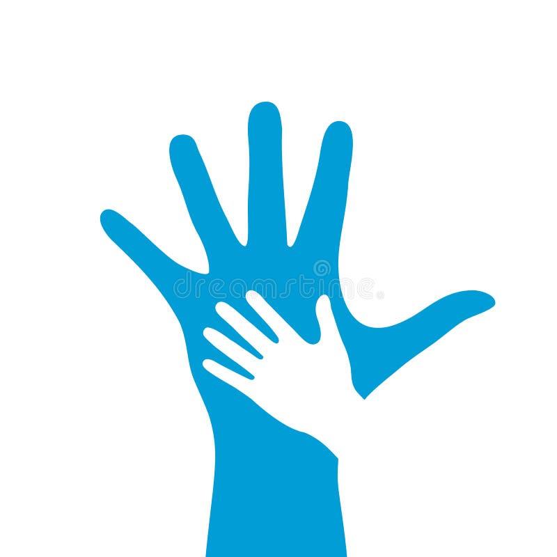 Icona di vettore della mano del bambino e dell'adulto illustrazione vettoriale