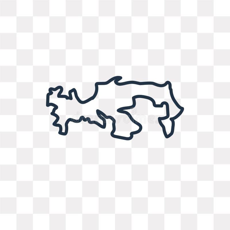Icona di vettore della mappa del Panama isolata su fondo trasparente, linea illustrazione di stock