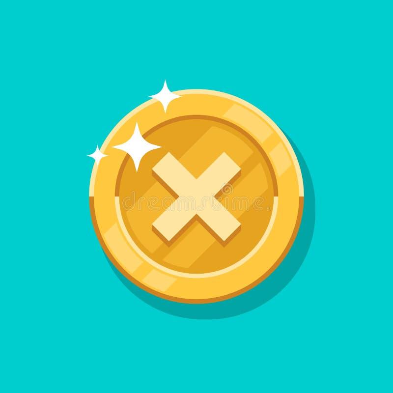 Icona di vettore della moneta di oro del segno di guasto Soldi di metallo dorati del fumetto piano isolati su fondo blu royalty illustrazione gratis