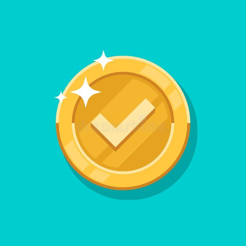 Icona di vettore della moneta di oro del segno di spunta Soldi di metallo dorati del fumetto piano isolati su fondo blu royalty illustrazione gratis