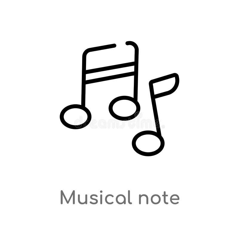 icona di vettore della nota musicale del profilo linea semplice nera isolata illustrazione dell'elemento dal concetto di istruzio royalty illustrazione gratis