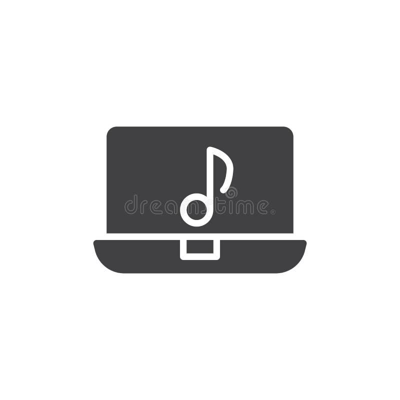 Icona di vettore della nota musicale e del computer portatile royalty illustrazione gratis
