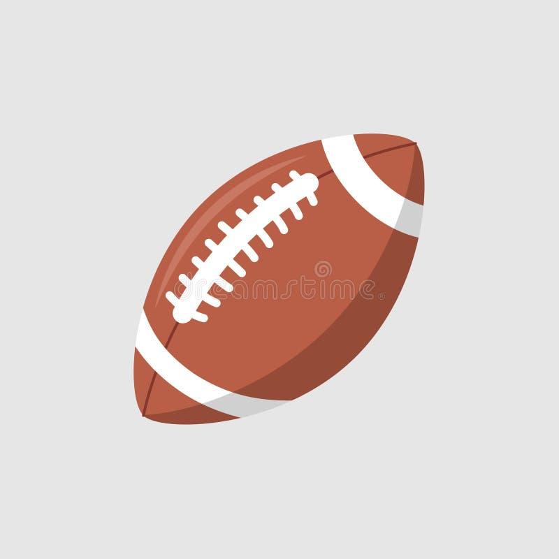 Icona di vettore della palla di rugby Progettazione piana della palla ovale del fumetto isolata logo della lega americana di calc illustrazione vettoriale