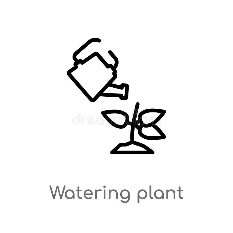 icona di vettore della pianta di innaffiatura del profilo linea semplice nera isolata illustrazione dell'elemento dal concetto de illustrazione vettoriale