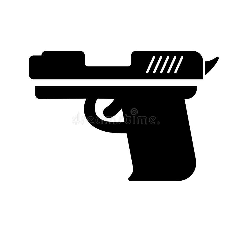 Icona di vettore della pistola Illustrazione di simbolo dell'arma Illustrazione militare Logo Template dell'attrezzatura illustrazione vettoriale