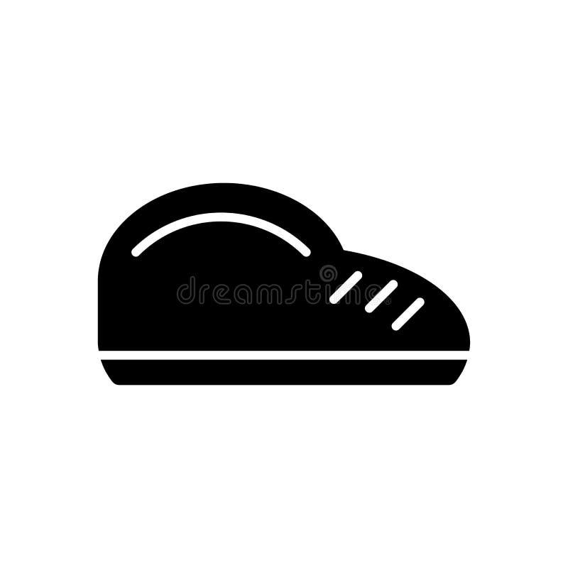 Icona di vettore della scarpa dell'uomo Illustrazione in bianco e nero delle calzature Icona lineare solida di acquisto illustrazione di stock