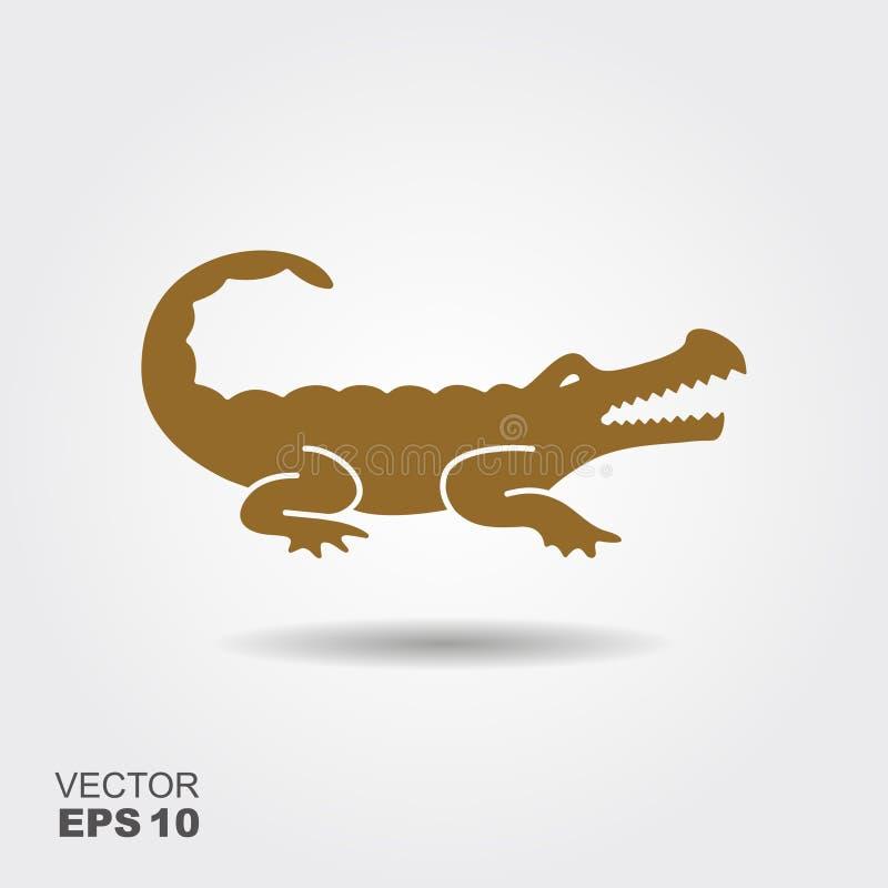 Icona di vettore della siluetta del coccodrillo