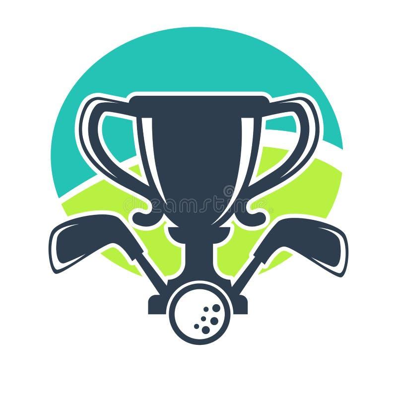 Icona di vettore della tazza del premio di torneo o del club di golf illustrazione di stock