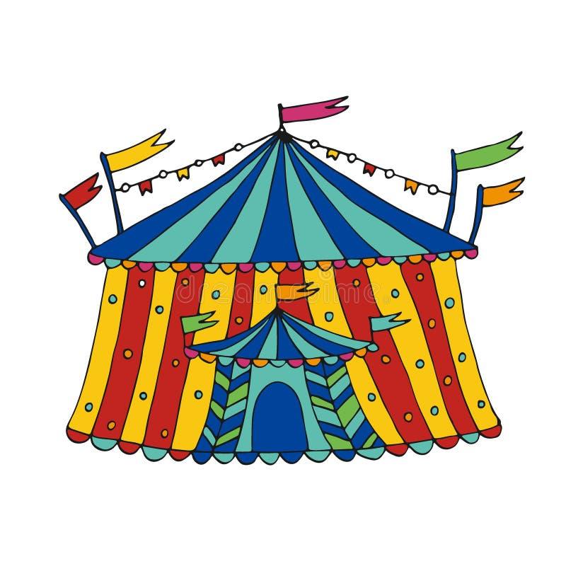 Icona di vettore della tenda di circo Illustrazione disegnata a mano Progettazione della stampa dell'autoadesivo illustrazione vettoriale