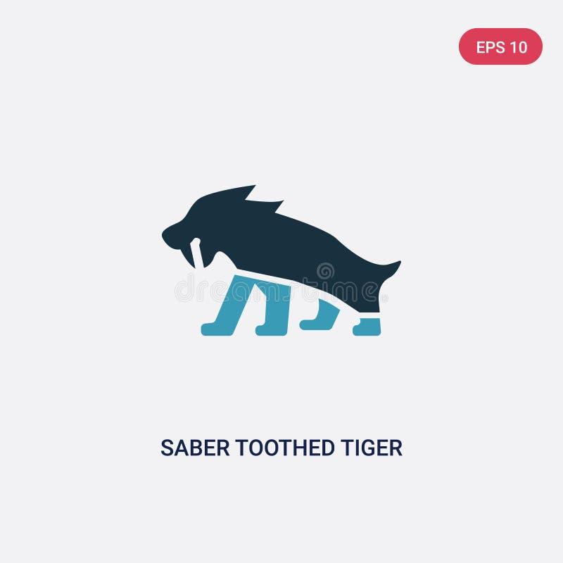 Icona di vettore della tigre dai denti a sciabola di due colori dal concetto di età della pietra il simbolo blu isolato del segno illustrazione vettoriale