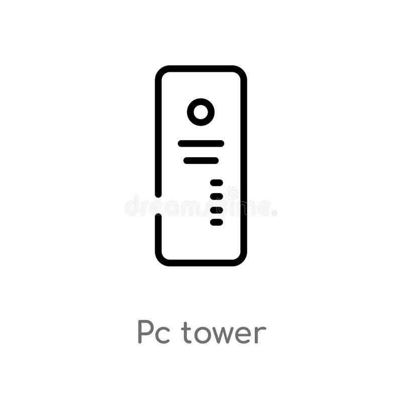 icona di vettore della torre del pc del profilo linea semplice nera isolata illustrazione dell'elemento dal concetto del computer illustrazione di stock