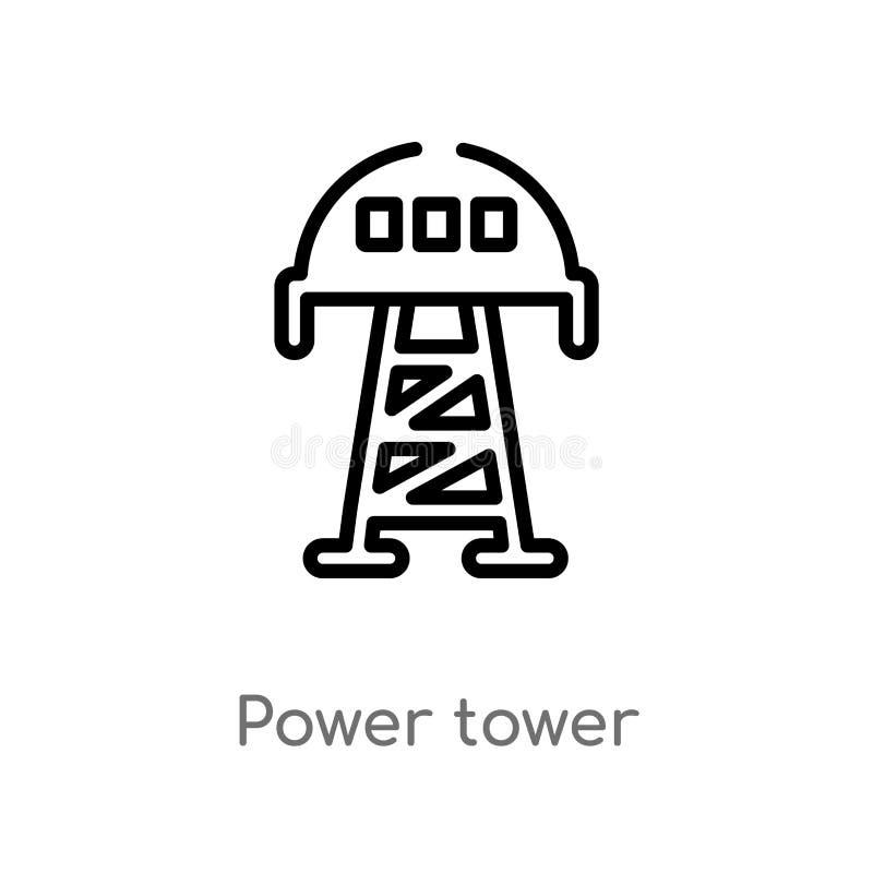 icona di vettore della torre di potere del profilo linea semplice nera isolata illustrazione dell'elemento dal concetto di indust illustrazione di stock