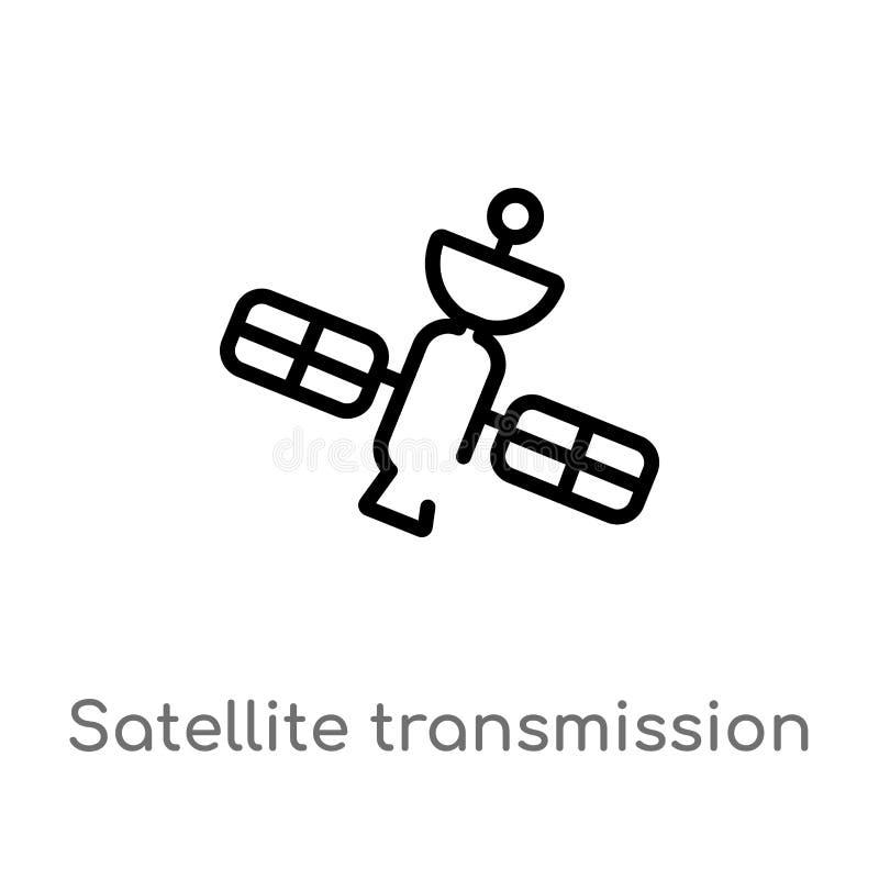 icona di vettore della trasmissione via satellite del profilo linea semplice nera isolata illustrazione dell'elemento dal concett royalty illustrazione gratis