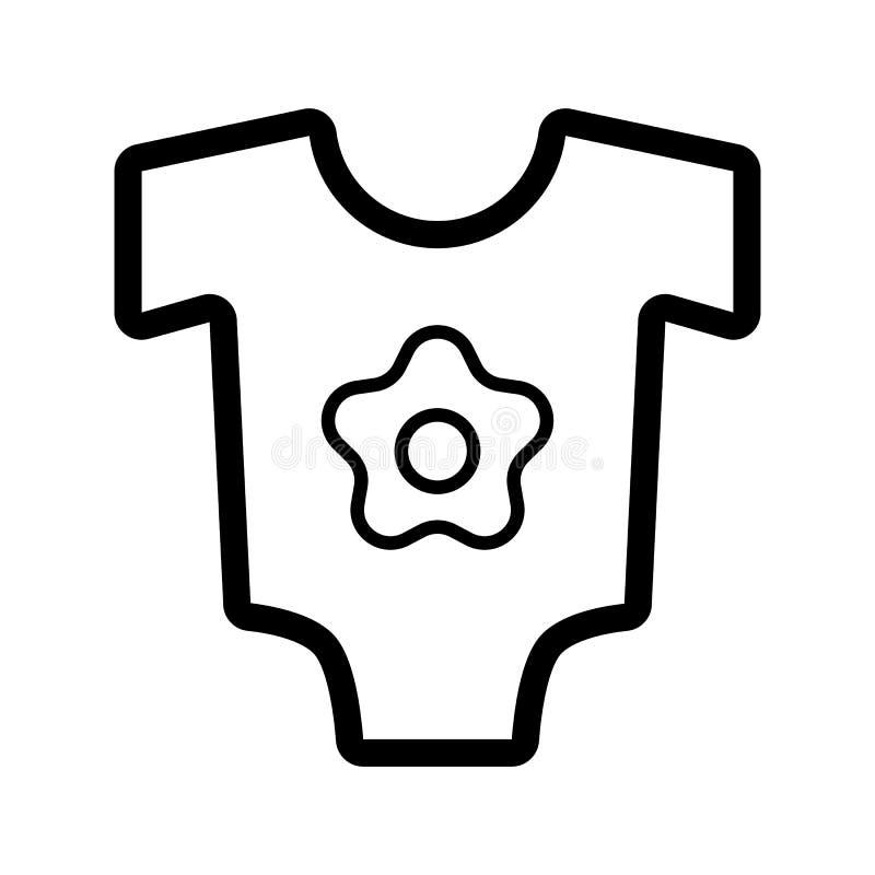 Icona di vettore della tuta del bambino Vestiti in bianco e nero del bambino per l'illustrazione della ragazza Icona lineare del  illustrazione di stock