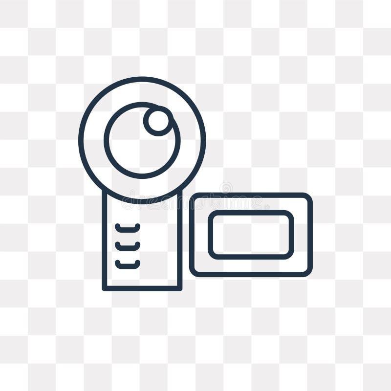 Icona di vettore della videocamera isolata su fondo trasparente, Lin royalty illustrazione gratis