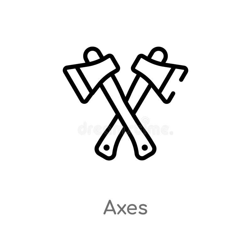 icona di vettore delle asce del profilo linea semplice nera isolata illustrazione dell'elemento dal concetto di campeggio icona e royalty illustrazione gratis