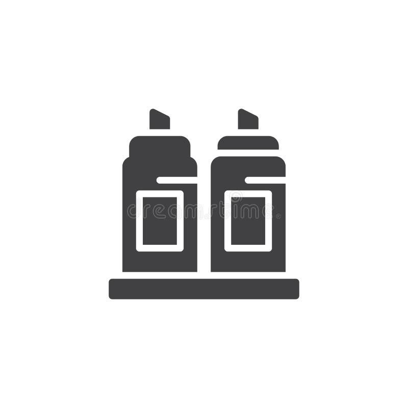 Icona di vettore delle bottiglie di ketchup e della senape illustrazione vettoriale