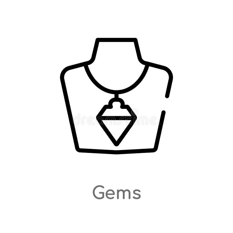 icona di vettore delle gemme del profilo linea semplice nera isolata illustrazione dell'elemento dal concetto di lusso icona edit illustrazione di stock