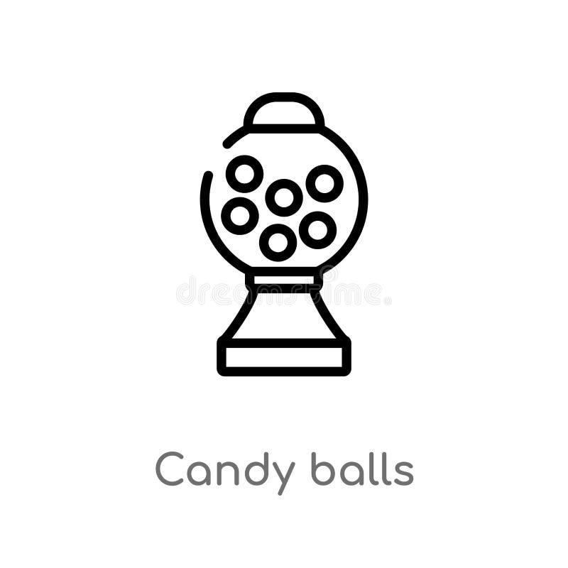 icona di vettore delle palle della caramella del profilo linea semplice nera isolata illustrazione dell'elemento dal concetto del illustrazione di stock