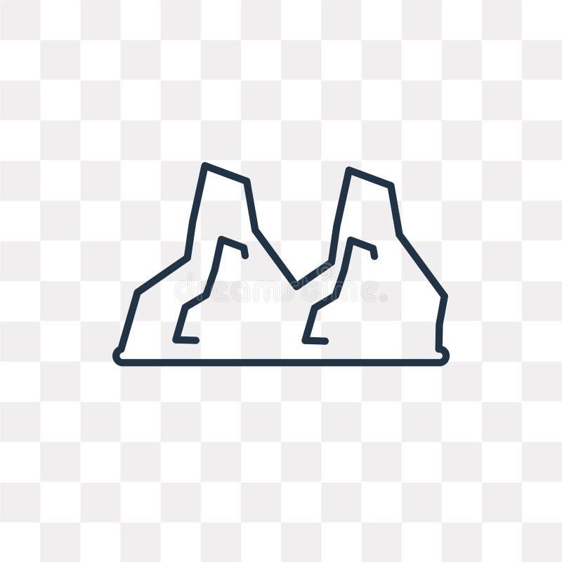 Icona di vettore delle pietre isolata su fondo trasparente, st lineare illustrazione vettoriale