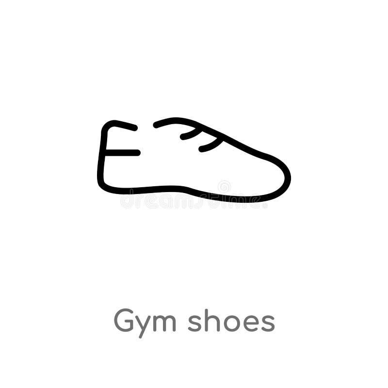 icona di vettore delle scarpe di palestra del profilo linea semplice nera isolata illustrazione dell'elemento dal concetto di mod illustrazione vettoriale