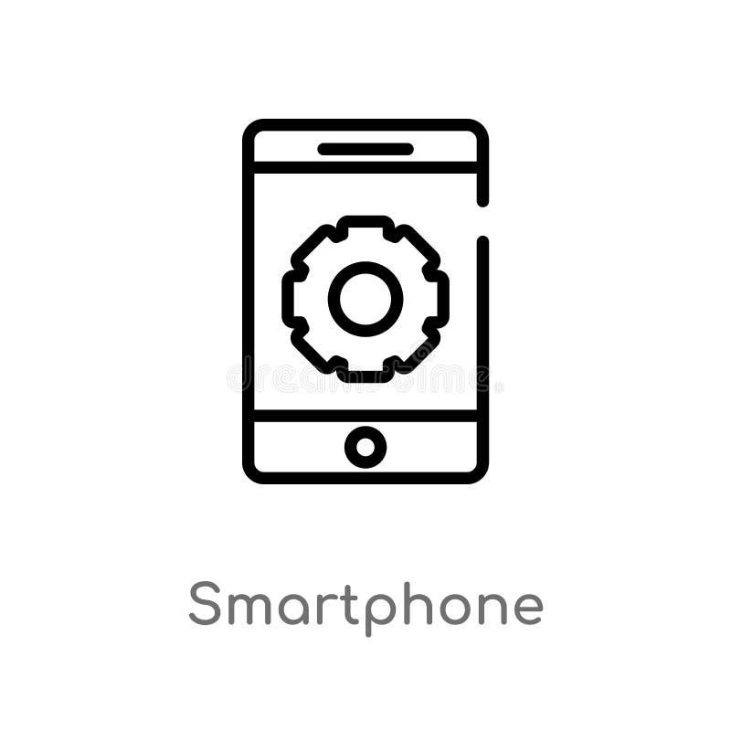 icona di vettore dello smartphone del profilo linea semplice nera isolata illustrazione dell'elemento dal concetto di strategia C illustrazione vettoriale