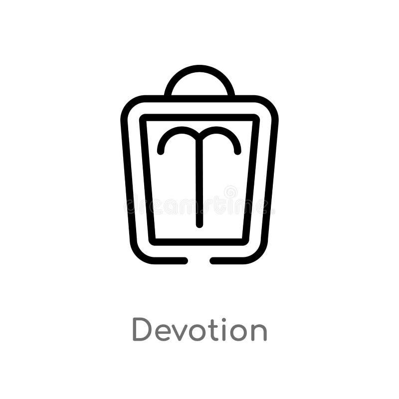 icona di vettore di devozione del profilo linea semplice nera isolata illustrazione dell'elemento dal concetto dello zodiaco devo illustrazione vettoriale
