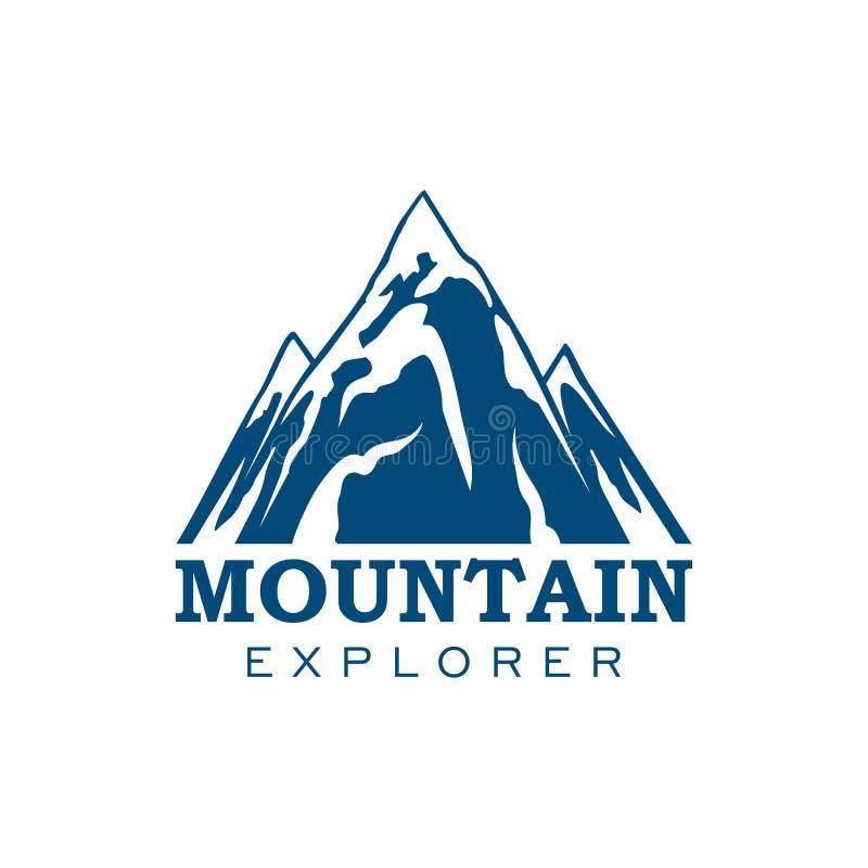Icona di vettore di sport di spedizione dell'esploratore della montagna illustrazione di stock