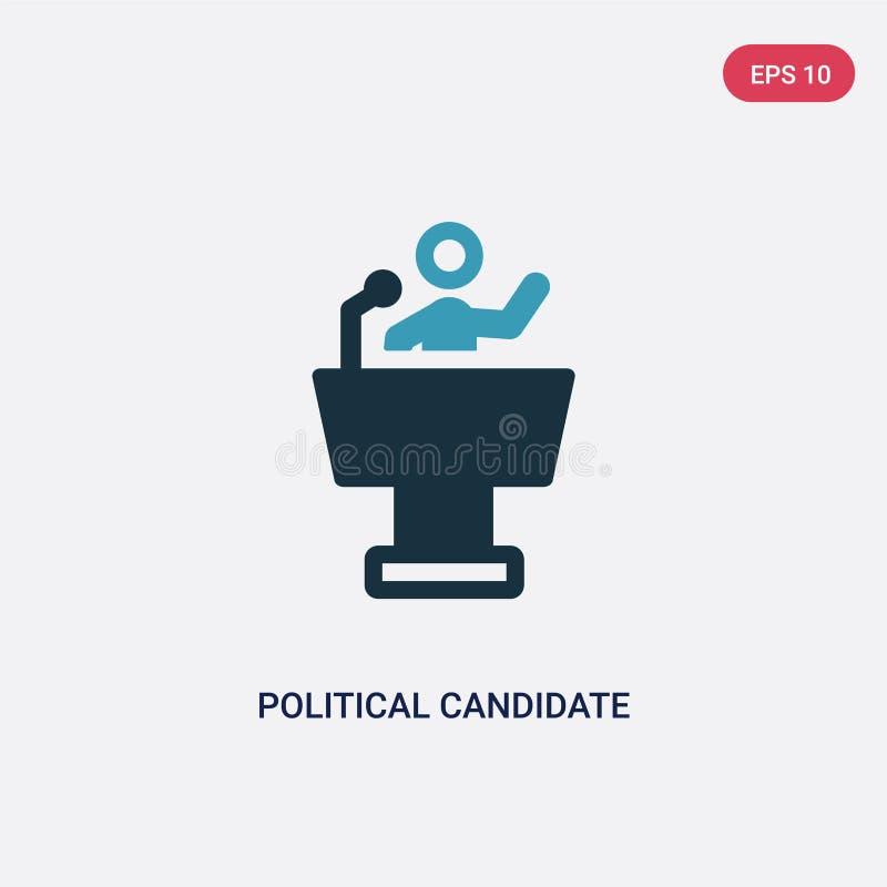 Icona di vettore di discorso del candidato politico di due colori dal concetto politico segno blu isolato di vettore di discorso  royalty illustrazione gratis