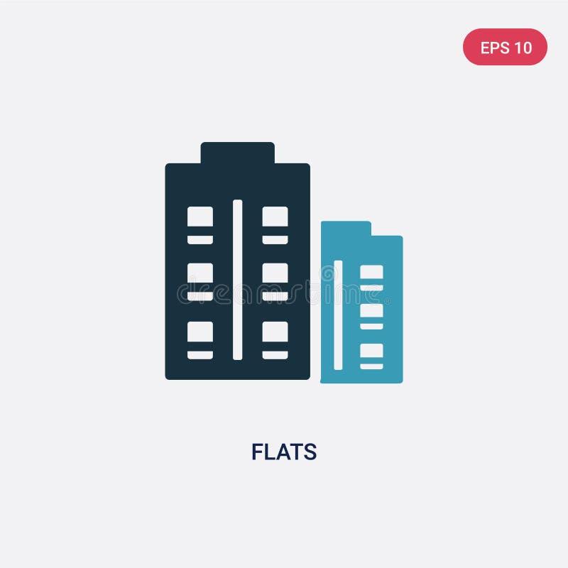 Icona di vettore di due appartamenti di colore dal concetto sociale di media il simbolo blu isolato del segno di vettore degli ap illustrazione di stock