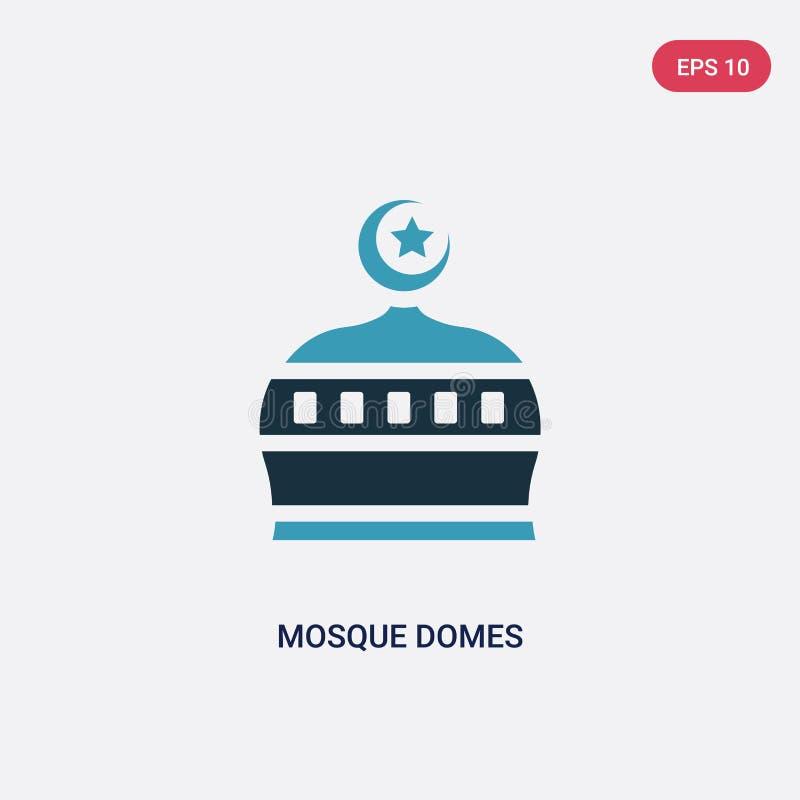 Icona di vettore di due di colore cupole della moschea dal concetto di religione il simbolo blu isolato del segno di vettore dell illustrazione vettoriale
