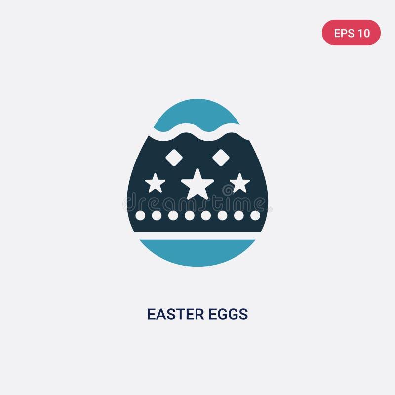 Icona di vettore di due di colore uova di Pasqua dal concetto di religione il simbolo blu isolato del segno di vettore delle uova illustrazione di stock