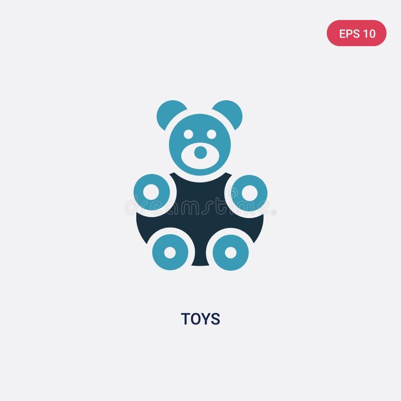 Icona di vettore di due giocattoli di colore dal concetto di forme il simbolo blu isolato del segno di vettore dei giocattoli può illustrazione di stock
