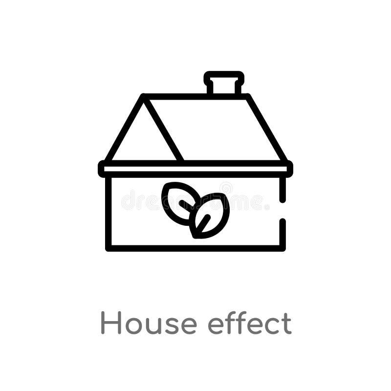 icona di vettore di effetto della casa del profilo linea semplice nera isolata illustrazione dell'elemento dal concetto di ecolog illustrazione di stock