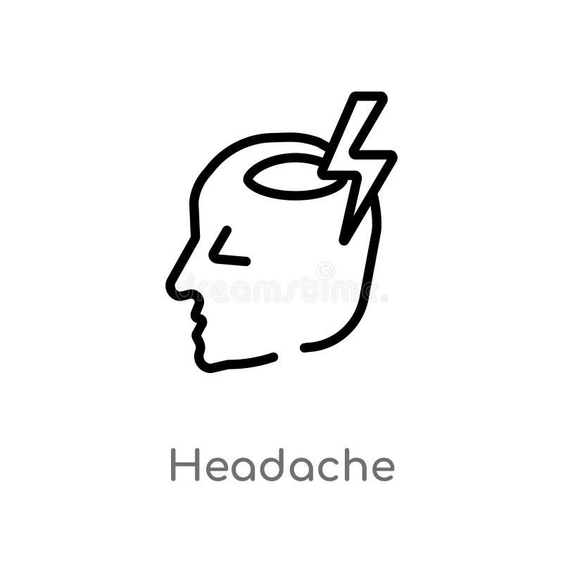 icona di vettore di emicrania del profilo linea semplice nera isolata illustrazione dell'elemento dal concetto di smiley Colpo ed illustrazione di stock