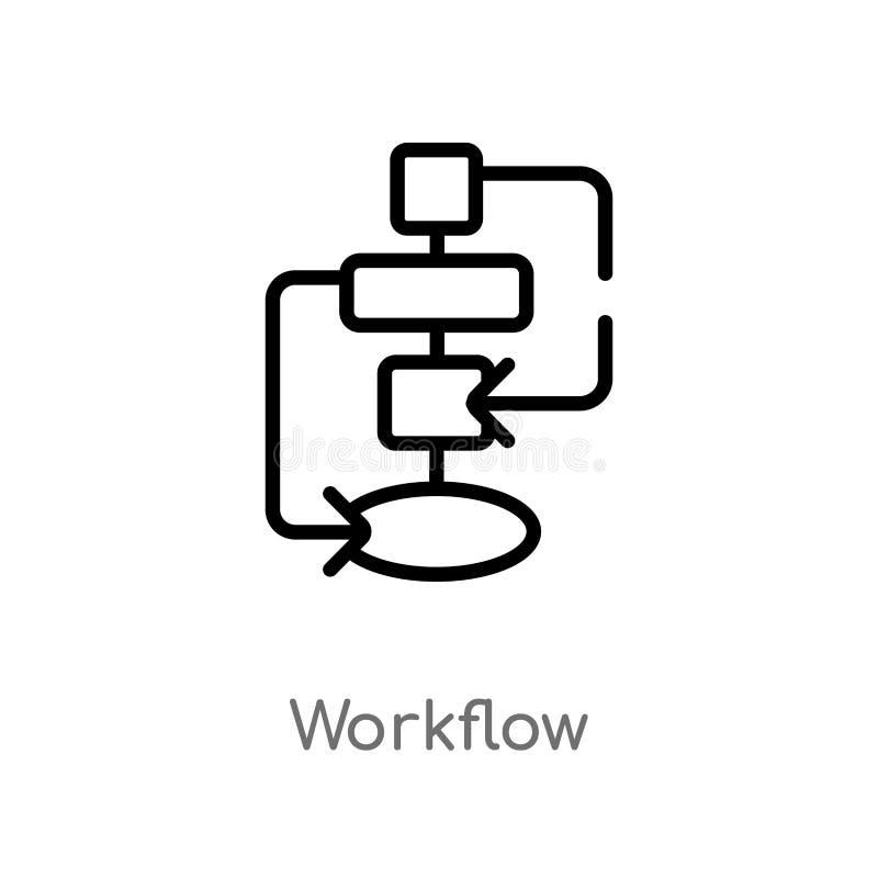 icona di vettore di flusso di lavoro del profilo linea semplice nera isolata illustrazione dell'elemento dal concetto creativo de illustrazione vettoriale