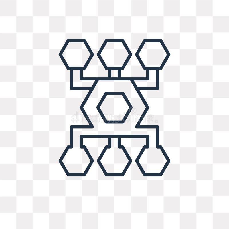Icona di vettore di flusso di lavoro isolata su fondo trasparente, lineare illustrazione vettoriale