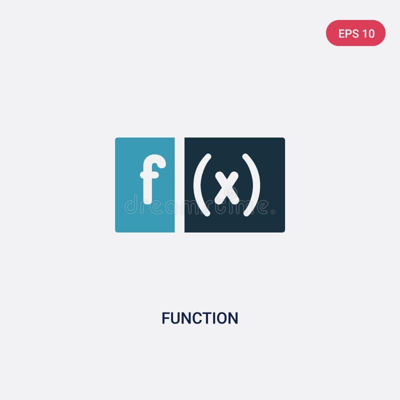 Icona di vettore di funzione di due colori dal concetto di forme il simbolo blu isolato del segno di vettore di funzione può esse illustrazione di stock