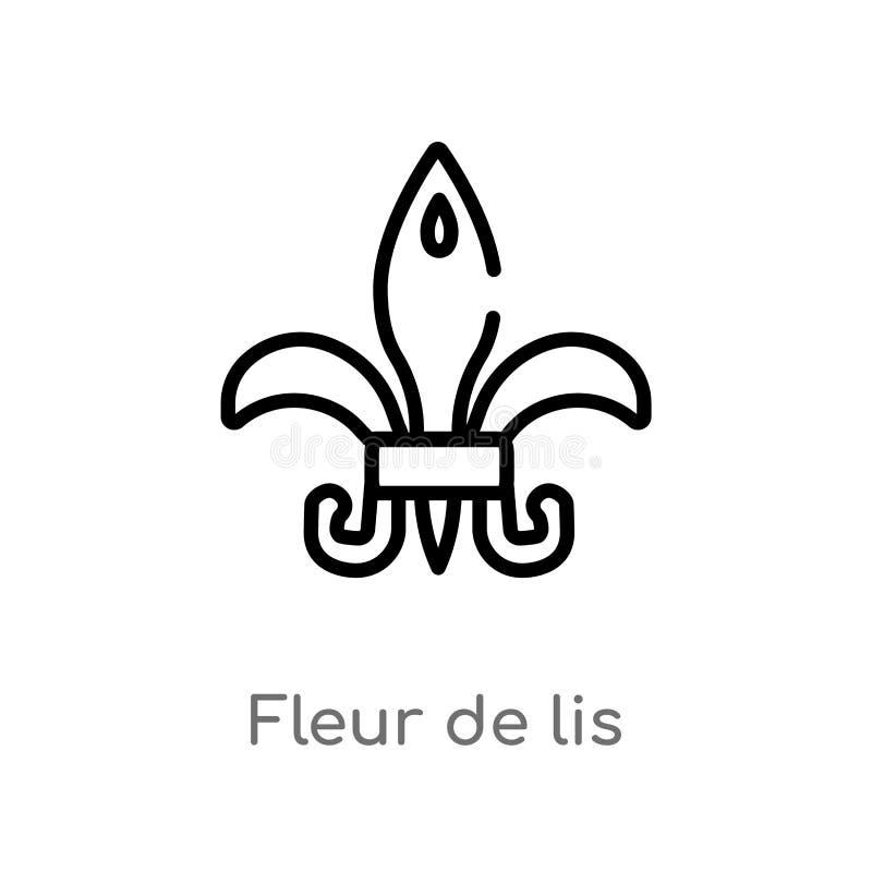 icona di vettore di giglio araldico del profilo linea semplice nera isolata illustrazione dell'elemento dalle forme e dal concett royalty illustrazione gratis