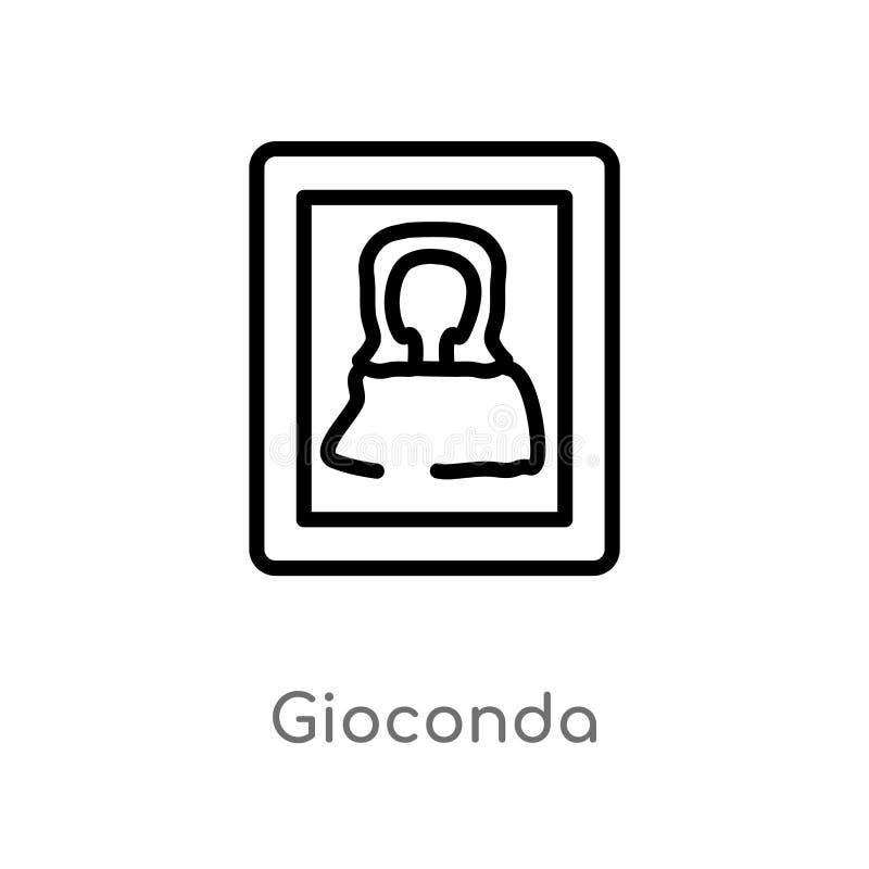 icona di vettore di gioconda del profilo linea semplice nera isolata illustrazione dell'elemento dal concetto del museo gioconda  royalty illustrazione gratis