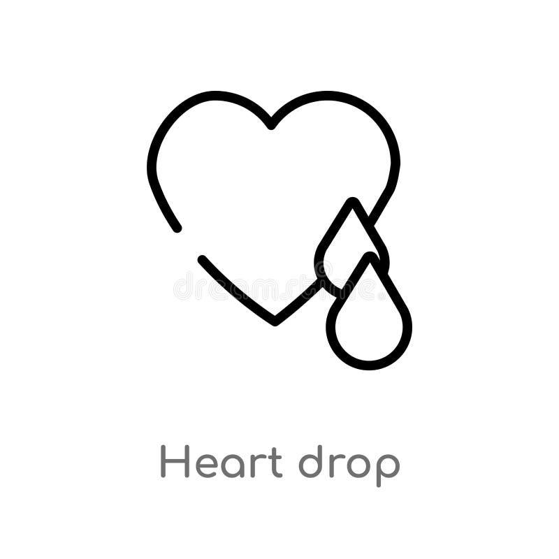 icona di vettore di goccia del cuore del profilo linea semplice nera isolata illustrazione dell'elemento dal concetto di carit? c illustrazione vettoriale