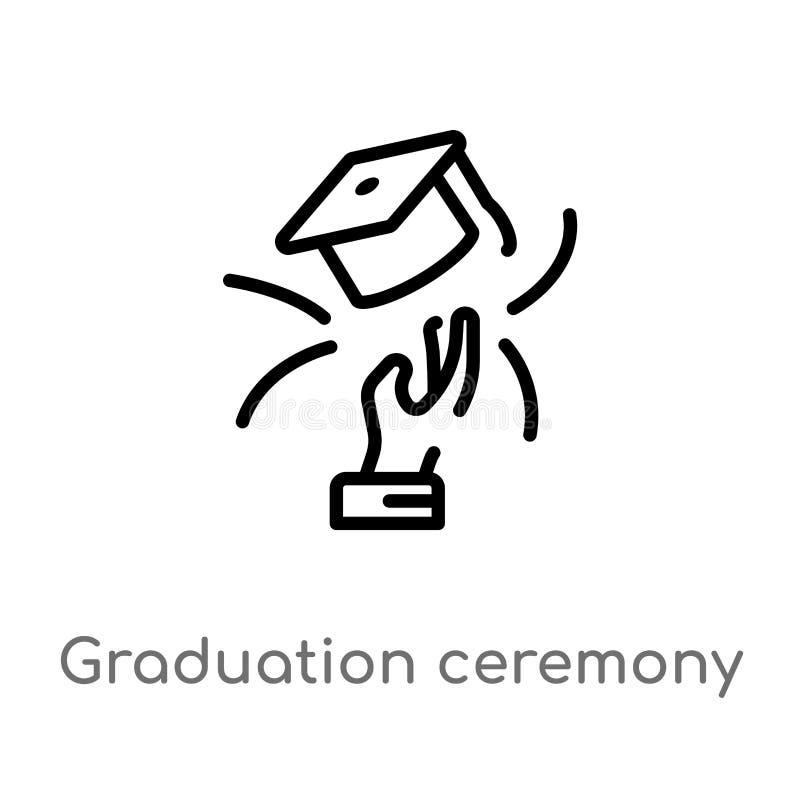 icona di vettore di graduation del profilo linea semplice nera isolata illustrazione dell'elemento dal concetto di affari Vettore illustrazione vettoriale