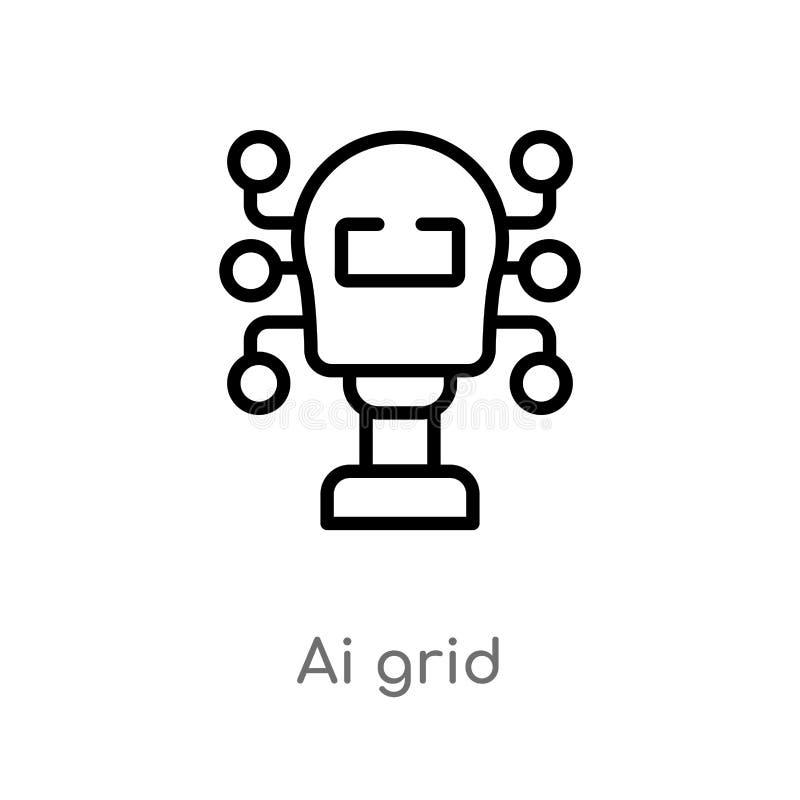 icona di vettore di griglia di ai del profilo linea semplice nera isolata illustrazione dell'elemento dal concetto artificiale di illustrazione di stock