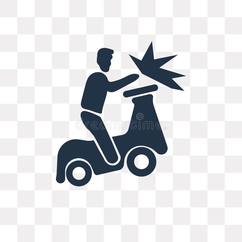 icona di vettore di incidente del becycle isolata su fondo trasparente, illustrazione vettoriale