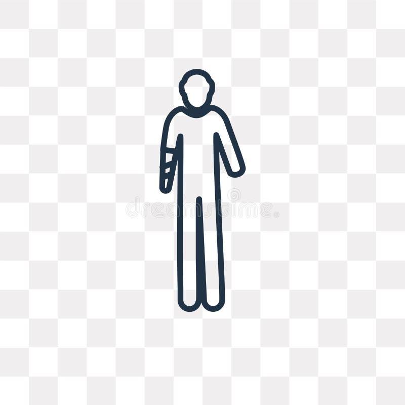 Icona di vettore di incidente della mano isolata su fondo trasparente, Li illustrazione di stock