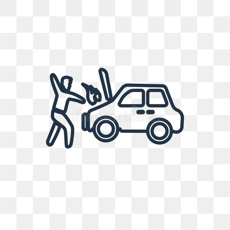 Icona di vettore di incidente isolata su fondo trasparente, lineare illustrazione vettoriale