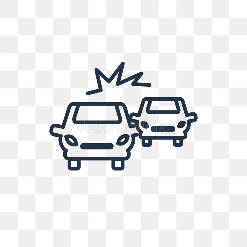 Icona di vettore di incidente isolata su fondo trasparente, lineare illustrazione di stock