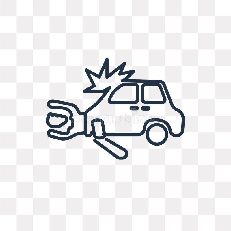 Icona di vettore di incidente stradale isolata su fondo trasparente, Lin illustrazione vettoriale