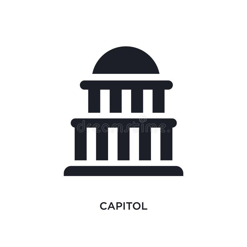 icona di vettore isolata capitol nero illustrazione semplice dell'elemento dalle icone di vettore di concetto degli Stati Uniti l illustrazione vettoriale
